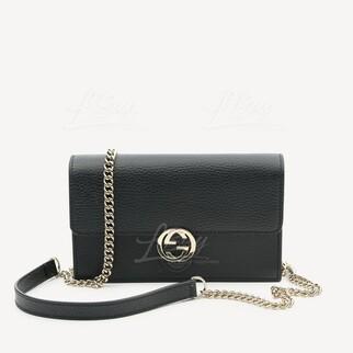 Gucci Interlocking G皮革鏈帶銀包手袋