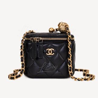 Chanel 小金球鏈條小號化妝袋 黑色