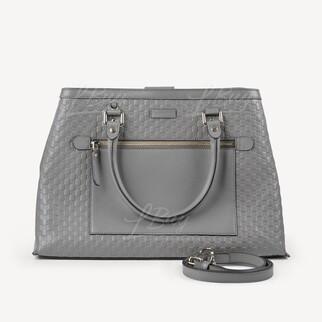 Gucci GG logo大象灰色皮革手挽袋