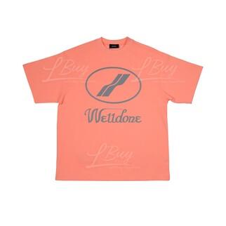 WE11DONE 螢光橙色 銀反光Logo 男女同款 T恤