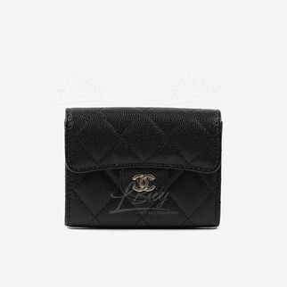 Chanel 經典款細號垂蓋銀包卡包 黑色配金色CC Logo