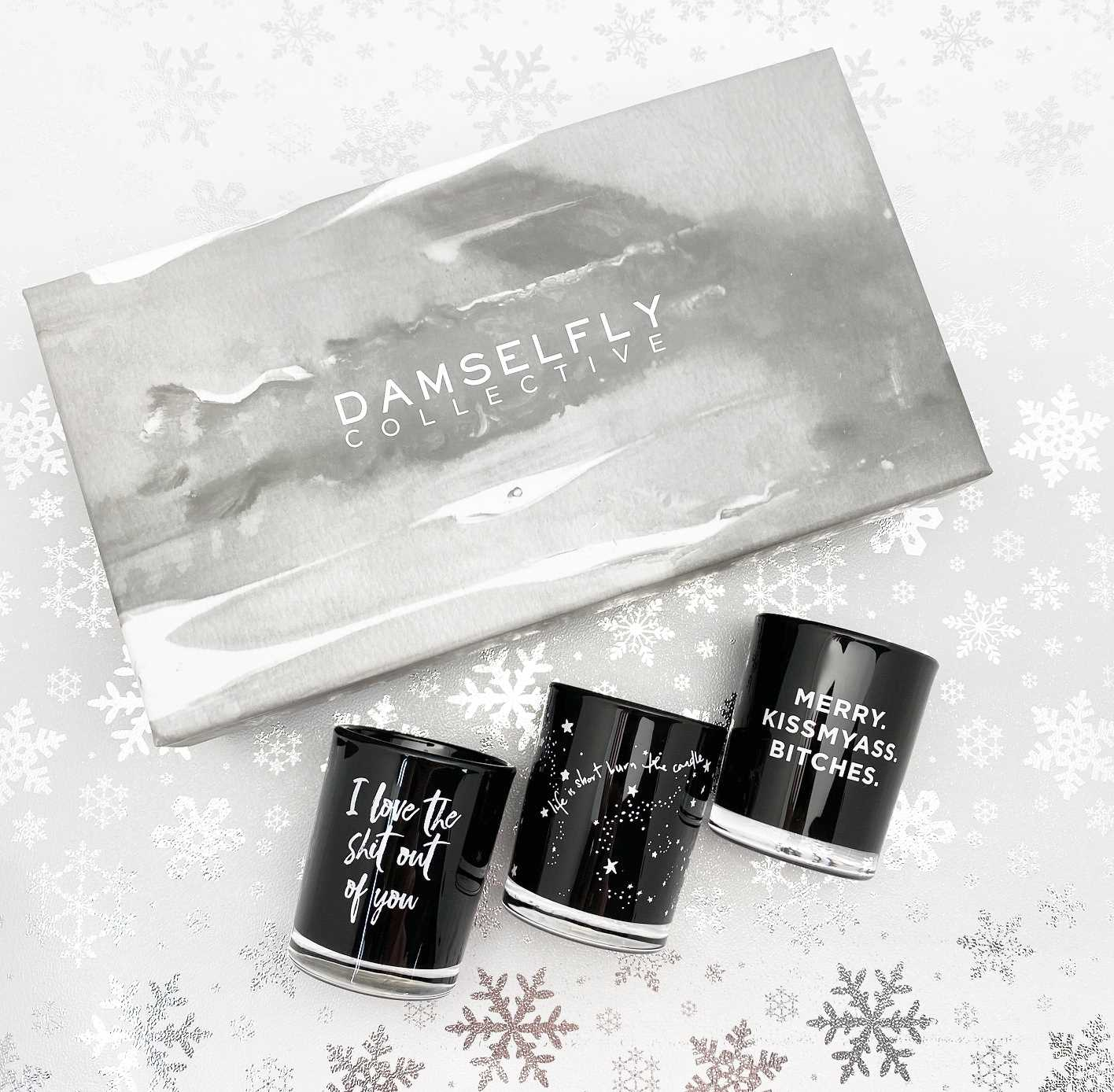 "Damselfly - ""Merry Kiss my ass Bitches"" Australia natural made, ""Naughty"" aromas candles Christmas box set"